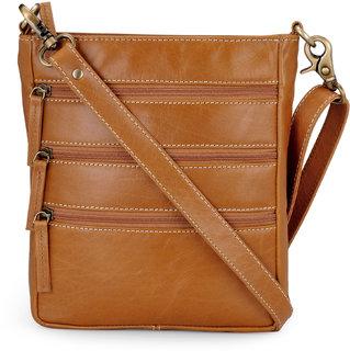 The House of Tara Cross Body Messenger Bag in Leather (Tan)