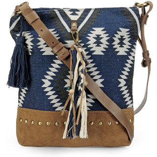 The House of Tara Cross Body Bag in Leather and Woven Fabric (Indigo and Tan)
