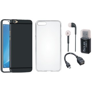 Oppo F3 Stylish Back Cover with Memory Card Reader, Silicon Back Cover, Earphones and OTG Cable