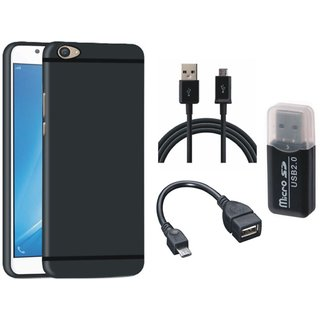 Vivo Y55 Stylish Back Cover with Memory Card Reader, OTG Cable and USB Cable