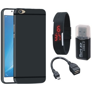 Vivo Y53 Silicon Anti Slip Back Cover with Memory Card Reader, Digital Watch and OTG Cable