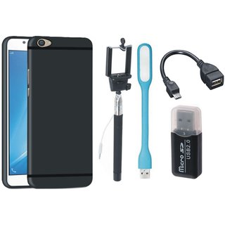 Oppo F3 Back Cover with Memory Card Reader, Selfie Stick, LED Light and OTG Cable