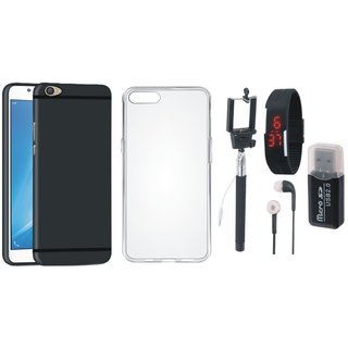 Lenovo K6 Power Stylish Back Cover with Memory Card Reader, Silicon Back Cover, Selfie Stick, Digtal Watch and Earphones
