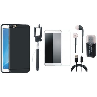 Vivo Y55L Silicon Anti Slip Back Cover with Memory Card Reader, Free Selfie Stick, Tempered Glass, Earphones and USB Cable