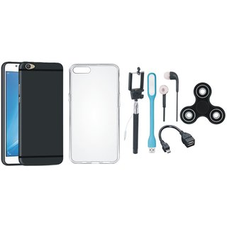 Oppo F3 Silicon Slim Fit Back Cover with Spinner, Silicon Back Cover, Selfie Stick, Earphones, OTG Cable and USB LED Light