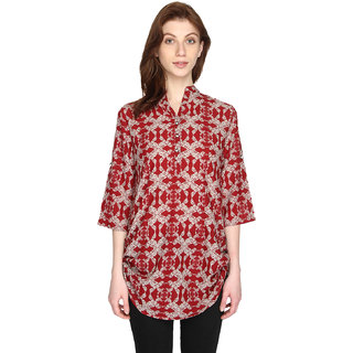 P-Nut Womens Red Cotton Printed Top with 3/4th Sleeves