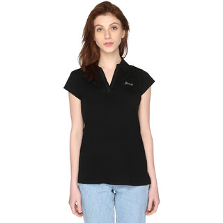 P-Nut Womens Solid Short Sleeves Cotton Top