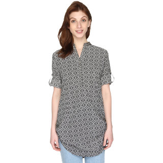 P-Nut Womens Black & White Printed Cotton Top with 3/4th Sleeves