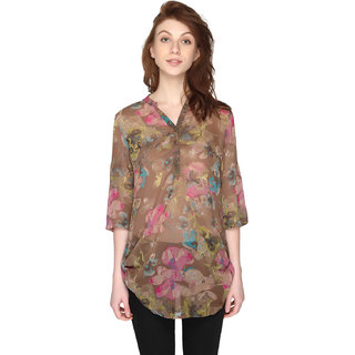 P-Nut Womens Chiffon Georgette Floral Printed Top