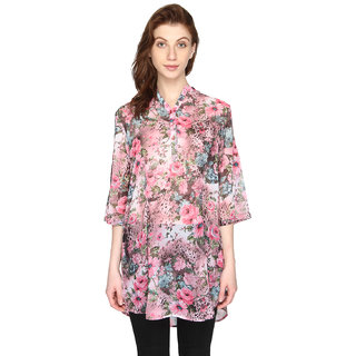 P-Nut Womens Floral Printed Chiffon Georgette Top