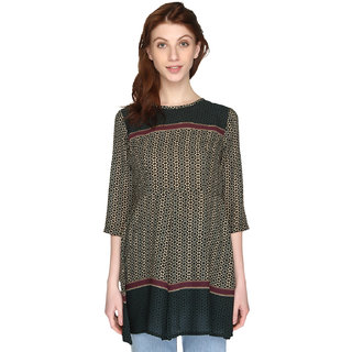P-Nut Womens Green Georgette Printed Top with 3/4th Sleeves