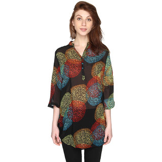P-Nut Womens Chiffon Georgette Multicoloured Printed Top