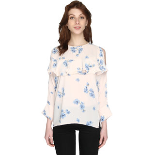 P-Nut Womens Georgette Printed Top with Open 3/4th Sleeves