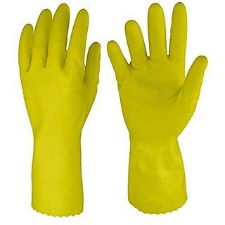 Rubberex Just Gloves Flocklined Rubber Hand Gloves, Medium, 1 Pair, Yellow