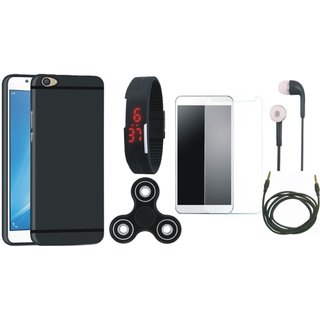 Oppo F3 Silicon Anti Slip Back Cover with Free Spinner, Digital LED Watch, Tempered Glass, Earphones and AUX Cable