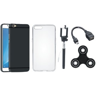 Oppo F3 Silicon Anti Slip Back Cover with Spinner, Silicon Back Cover, Selfie Stick and OTG Cable