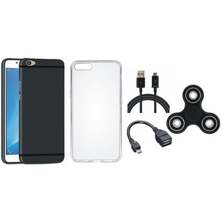 Oppo F3 Silicon Anti Slip Back Cover with Spinner, Silicon Back Cover, OTG Cable and USB Cable
