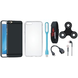 Oppo F3 Stylish Back Cover with Spinner, Silicon Back Cover, Digital Watch, Earphones, USB LED Light and OTG Cable
