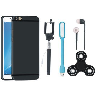 Oppo F3 Silicon Anti Slip Back Cover with Spinner, Selfie Stick, Earphones and USB LED Light
