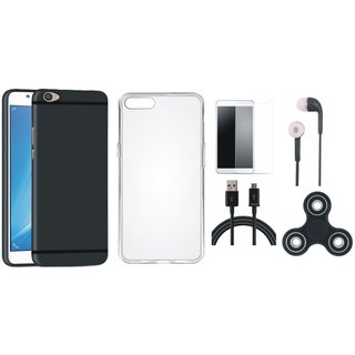 Oppo F3 Silicon Anti Slip Back Cover with Spinner, Silicon Back Cover, Tempered Glass, Earphones and USB Cable