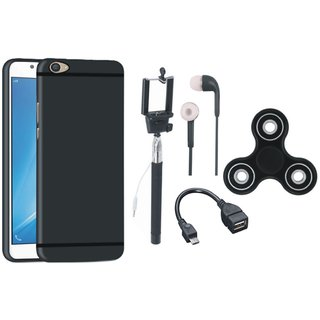 Oppo F3 Silicon Anti Slip Back Cover with Spinner, Selfie Stick, Earphones and OTG Cable