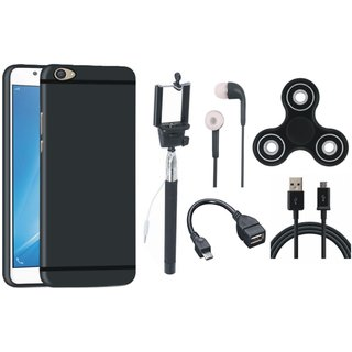 Oppo F3 Silicon Anti Slip Back Cover with Spinner, Selfie Stick, Earphones, OTG Cable and USB Cable