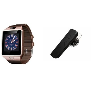 Zemini DZ09 Smartwatch and HM1100 Bluetooth Headphone for MICROMAX CANVAS A1 AQ4502(DZ09 Smart Watch With 4G Sim Card, Memory Card| HM1100 Bluetooth Headphone)