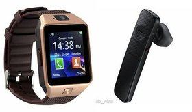 Zemini DZ09 Smartwatch and HM1100 Bluetooth Headphone for ASUS ZENFONE 2 LASER(DZ09 Smart Watch With 4G Sim Card, Memory Card| HM1100 Bluetooth Headphone)
