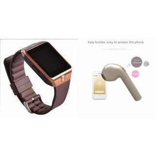 Zemini DZ09 Smart Watch and HBQ I7R Bluetooth Headphone for HTC DESIRE 500(DZ09 Smart Watch With 4G Sim Card, Memory Card| HBQ I7R Bluetooth Headphone)