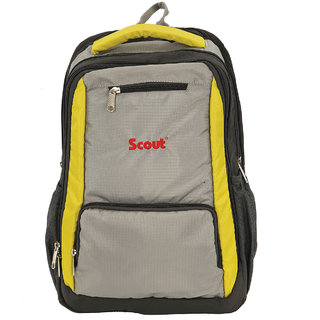 Scout School Bag, College Multi Utility Laptop Backpack, 15 Liters (Lemon Tonic-Yellow And  Gray)