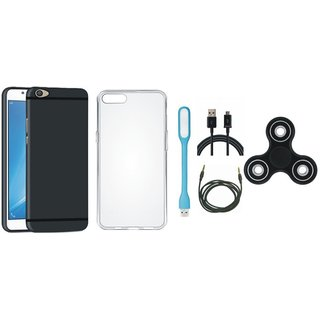 Vivo Y55 Silicon Slim Fit Back Cover with Spinner, Silicon Back Cover, USB LED Light, USB Cable and AUX Cable