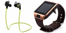 Zemini DZ09 Smartwatch and Jogger Bluetooth Headphone for SAMSUNG GALAXY S 5 LTE-A(DZ09 Smart Watch With 4G Sim Card, Memory Card  Jogger Bluetooth Headphone)