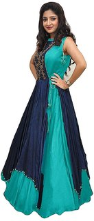 Rudra fashion Womens Banglory Silk And Tapeta Designer Anarkali Gown Free Size Sky Blue 20-20