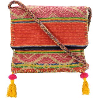 The House of Tara Boho Chick Crossbody Bag in Handloom Fabric HTCB 047