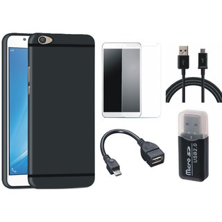 Vivo Y55L Cover with Memory Card Reader, Tempered Glass, OTG Cable and USB Cable