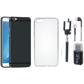 Vivo Y55L Cover with Memory Card Reader, Silicon Back Cover, Selfie Stick and Earphones