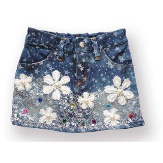 Ole Baby Premium Denim Skirt, Strechable Twin Denim Fabric 12 to 24 Months Girls