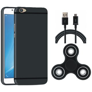 Vivo Y55L Silicon Anti Slip Back Cover with Spinner, USB Cable