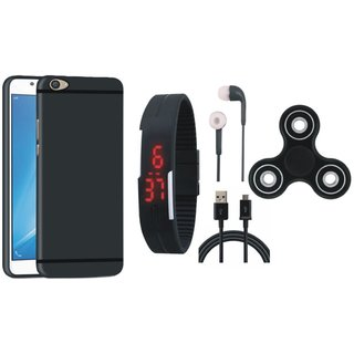 Vivo Y55L Silicon Anti Slip Back Cover with Spinner, Digital Watch, Earphones and USB Cable
