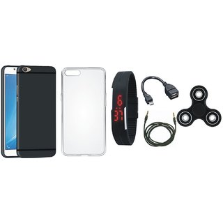 Vivo Y55L Stylish Back Cover with Spinner, Silicon Back Cover, Digital Watch, OTG Cable and AUX Cable