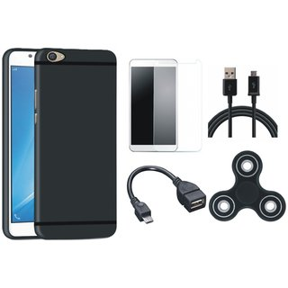 Vivo Y55L Silicon Anti Slip Back Cover with Spinner, Tempered Glass, OTG Cable and USB Cable