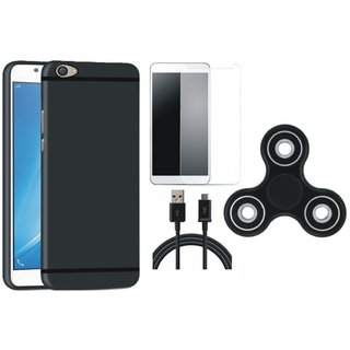 Vivo Y55L Silicon Anti Slip Back Cover with Spinner, Tempered Glass and USB Cable