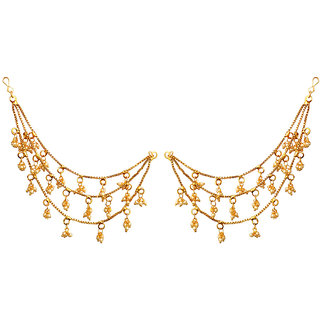 JewelMaze Zinc Alloy Gold Plated Pearl Pair of Kan Chain - AAA4164
