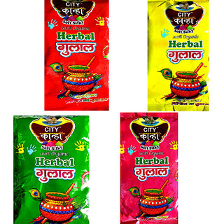 IMSTAR Herbal Holi Gulal (Combo of 4 Colors - Green, Yellow, Red, Pink)