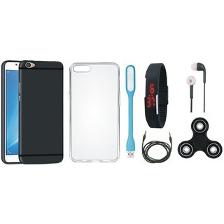 Vivo Y53s Soft Silicon Slim Fit Back Cover with Spinner, Silicon Back Cover, Digital Watch, Earphones, USB LED Light and AUX Cable