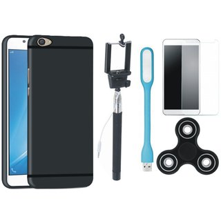 Vivo Y53s Soft Silicon Slim Fit Back Cover with Free Spinner, Selfie Stick, Tempered Glass, and LED Light