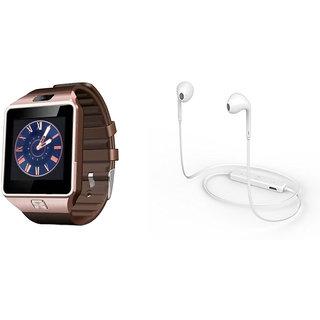 Zemini DZ09 Smart Watch and S6 Bluetooth Headsetfor VIVO y31a(DZ09 Smart Watch With 4G Sim Card, Memory Card| S6 Bluetooth Headset)