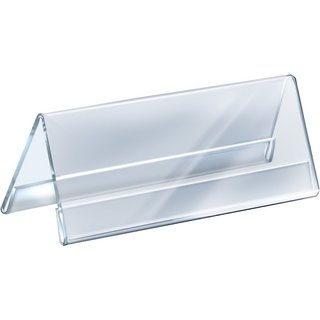 Kebica 2 Compartments Acrylic 8 Desk Label Name Plate (Pack of 5)  (Clear Transparent)