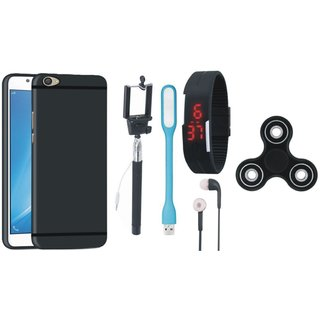 Lenovo K6 Power Soft Silicon Slim Fit Back Cover with Spinner, Selfie Stick, Digtal Watch, Earphones and USB LED Light