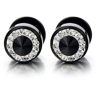 316L Steel Dual Cubic Zricons CZ Screw Black Color Barbell Stud Silver Color Earrings for Men  women (pair)